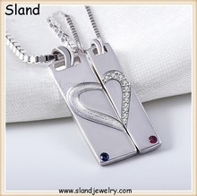 SLand Jewelry Manufaturer Wholesale inlaid cubic zircon rectangle shape 925 sterling silver heart puzzle pendant for necklace