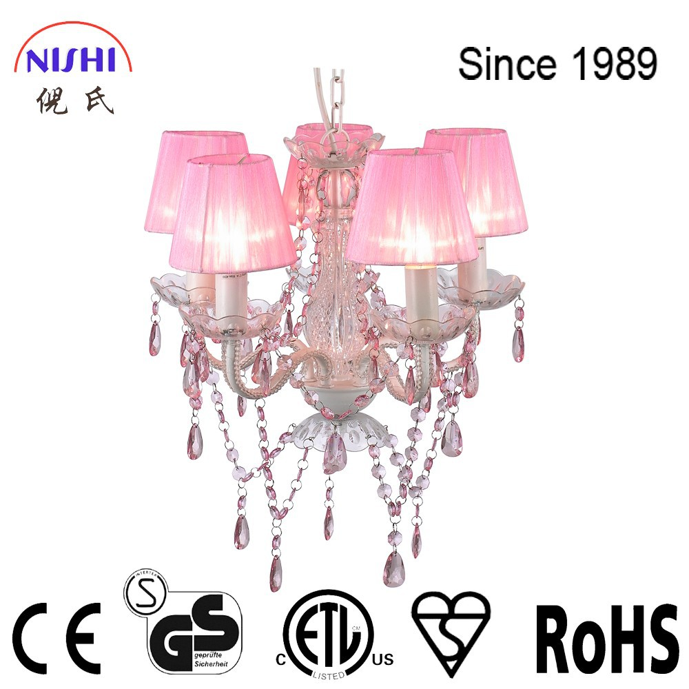 Whole sale pink crystal chandelier with multicolor choice