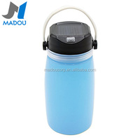 Madou Portable Silicone Foldable Rechargeable Outdoor Sport Water Bottle with Charge Port Leak Proof Storage Bottle Solar Camp