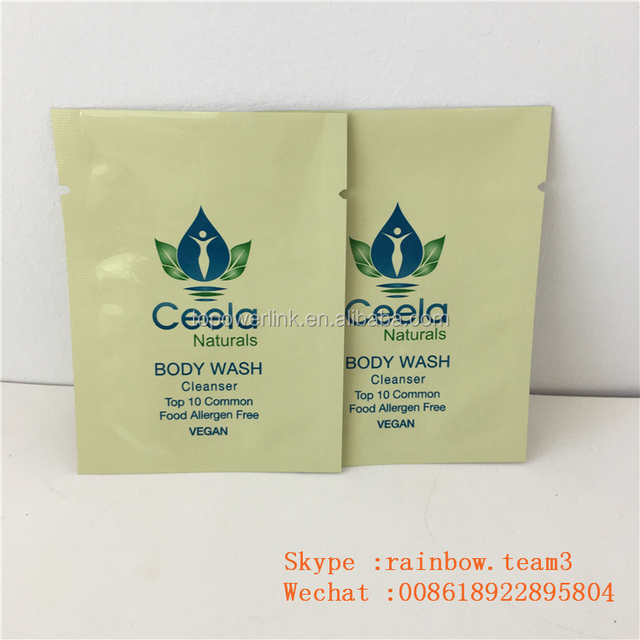 Plastic Mylar Aluminum Foil Promotional Body Care Lotion Cosmetics Sample Sachet Packaging
