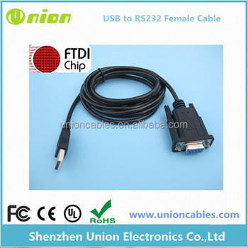 1.8m FTDI USB to serial RS232 FT232RL Chip DB9 Female adapter converter cable
