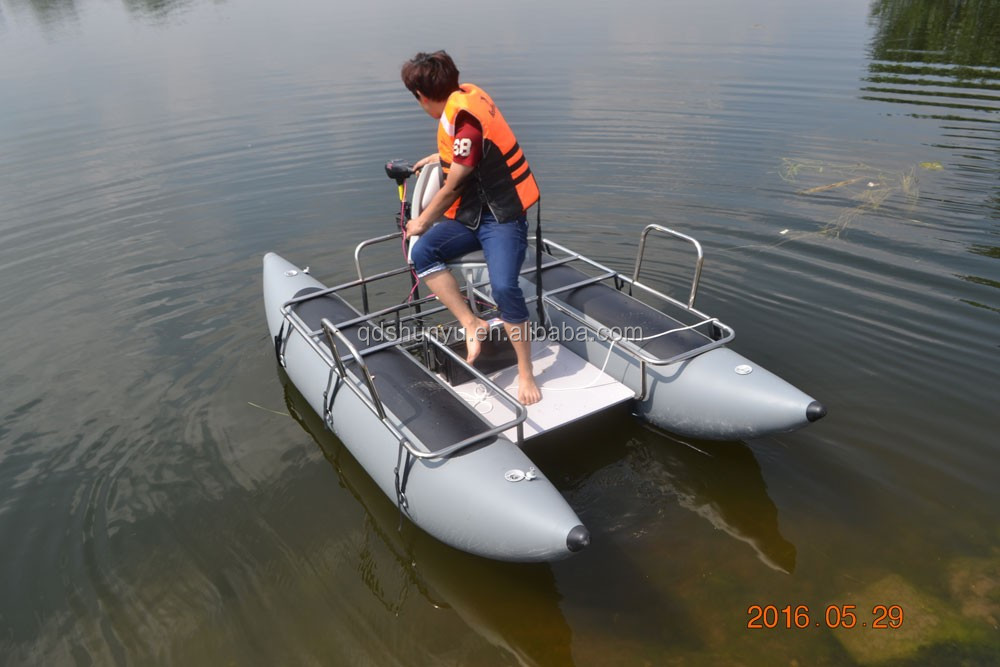 Best selling inflatable fishing pontoon boat with electric for Electric motor for pontoon boat