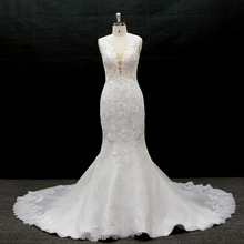 Long Lace Appliqued Fish Style Wedding Dress