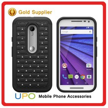 [UPO] China Mobile Phone Accessories Diamond Studded Hybrid Silicone + PC Hard Case for Motorola Moto G3