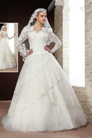 white lace long sleeve ball gown high neck 2012 hot-sale wedding dress
