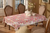 Flannel Back Plastic Tablecloths with Lace Edging