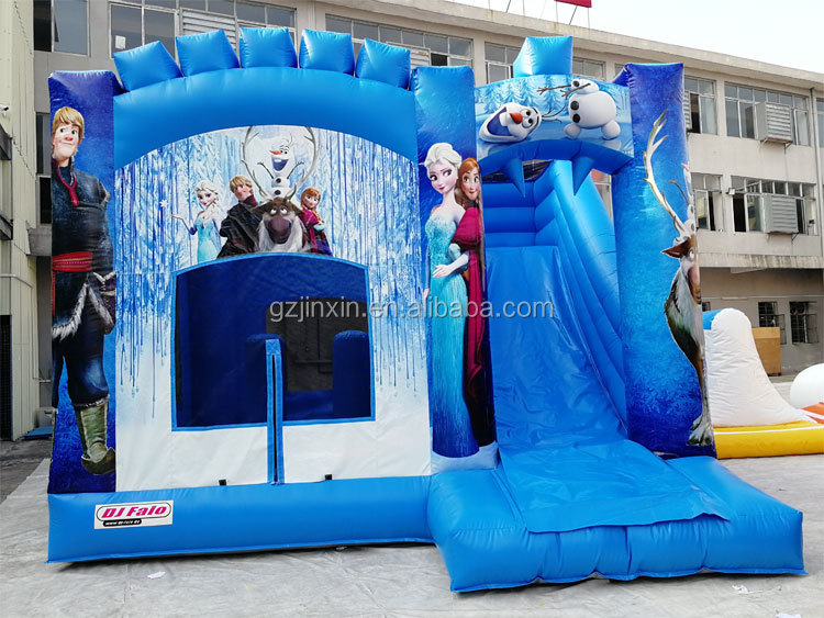 Free Custom Print PVC Inflatable Frozen Bouncer Playhouse Jump Bounce House Bouncy Kids Jumping Castle For Sale