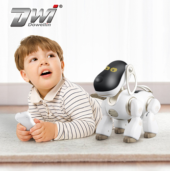 DWI Dowellin Infrared remote control kids friend AI chip robot dog with programming