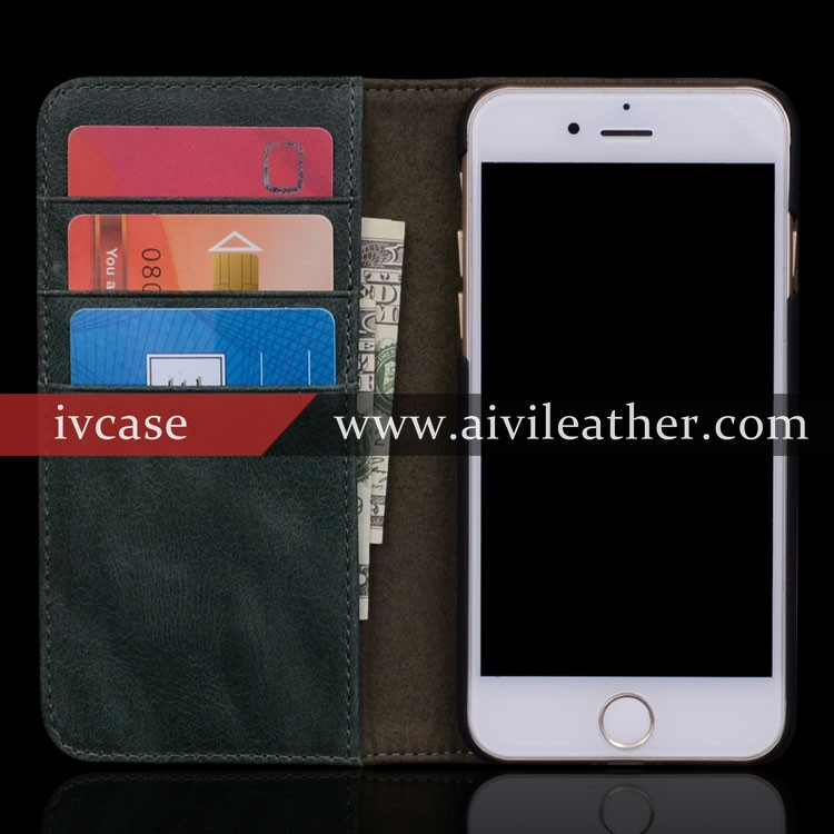 Finest Real Leather Phone Case for Iphone 7 Magnetic Flip Case