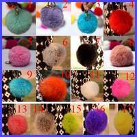 Hot 10cm Luxury Soft Real Rabbit Fur Ball Keychains Cell Phone Keychain