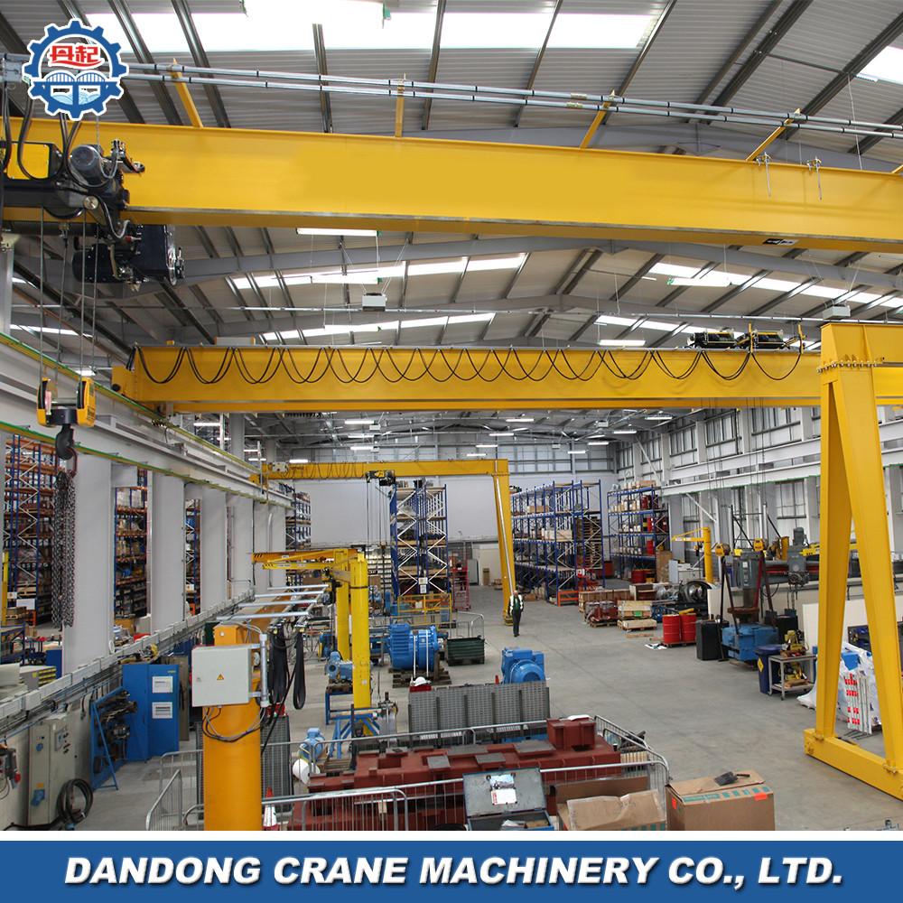 control from floor track travelling European style semi-portal fixed cargo crane