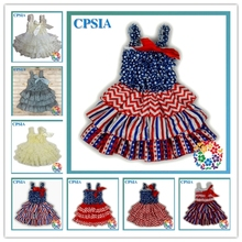 Royal blue red white baby lace ruffle birthday dress