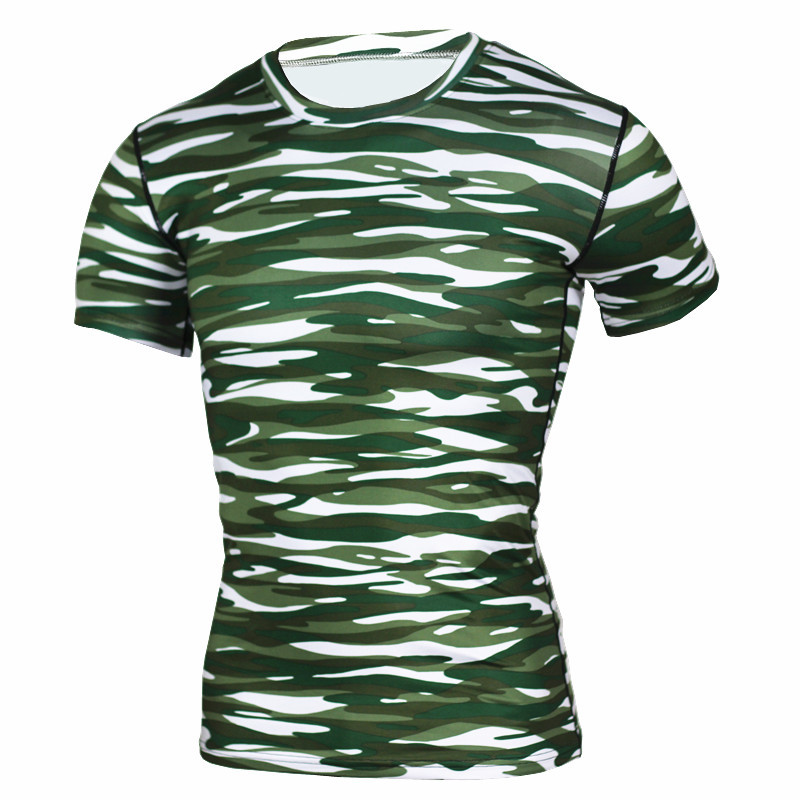 men stretchy tight fit sports t shirts camo ged fast dry compression breahable printed t shirts Plus size
