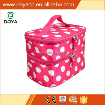 2017 hot sales custom polka dots design eco polyester travel toiletry bag cosmetic bag makeup bag