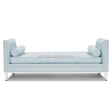 Modern wood frame end of bed foam chaise double end bed end stool with pillows