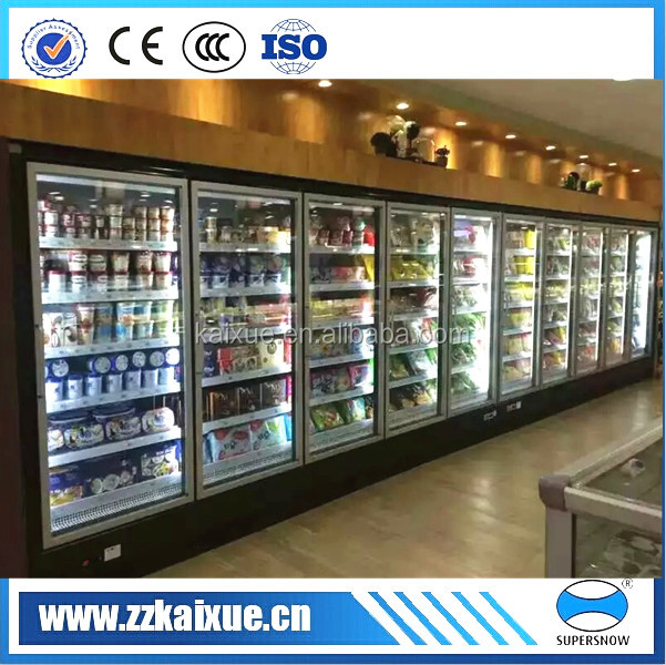remote supermarket multi glass door display merchandiser