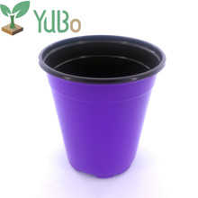 New Purple Plastic Flower Pot With Hole in Bottom For Gardening