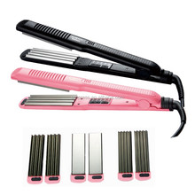 3 in 1pink titanium hair crimper hair straightener with attachments EPS806