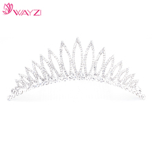 WAYZI brand silver wholesale crown india wedding crown bride crown and tiaras