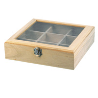 Hot sale tea bag storage box remote wooden tea box with 9 compartments