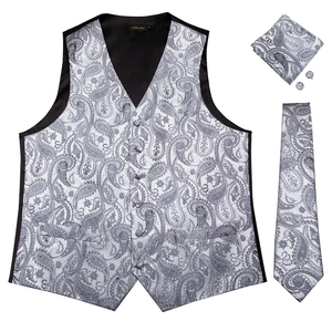 Wholesale Silver Paisley Men Vest Tie Pocket Square Waistcoat Set