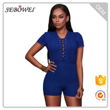 Denim Wash Lace Up Grommet Detail Romper Dress