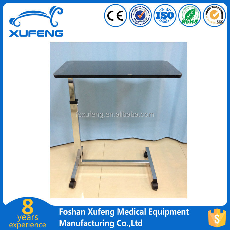 chrome steel adjustable hospital over bed table with wood panel