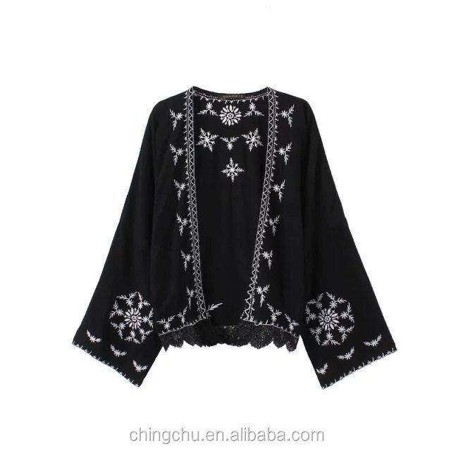 2017 Women Blouses casual embroidery Floral Cardigan Women Tops Batwing Blouse Kimono Cardigan women clothes