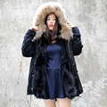 CX-G-P-12M Wholesale Lady Winter Clothes Women Real Fox Fur Lining And Raccoon Fur Collar Coat Parka Coat Hoody
