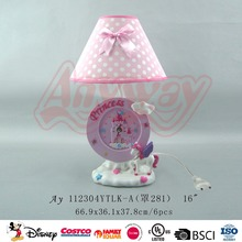 Modern simple design cartoon princess unicorn clock table lamp