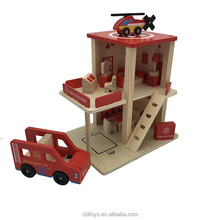 Montessori kids toy role play fire station game preschool wooden educational toys CBL3128