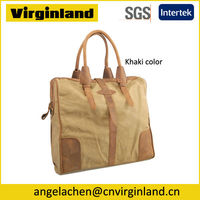 Fashion Washed Cotton Leather Khaki Custom Canvas Tote Bag Blank For Women with Zip Pocket