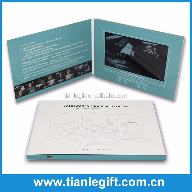 Lcd video brochure card promotional video greeting card