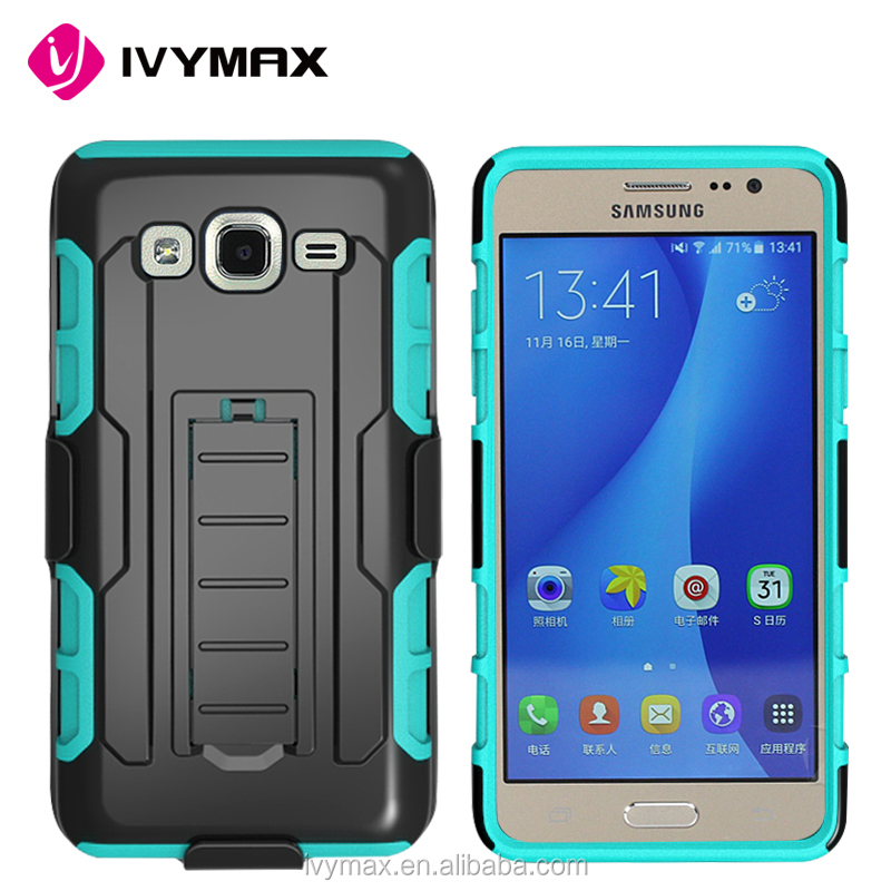 China mobile phone accessories rugged detachable hybrid silicone + pc robot case with kickstand suitable for samsung galaxy on5
