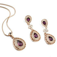 Crystal bridal jewelry sets with zinc alloy jewelry set india jewellery manufacturing from Guangdong