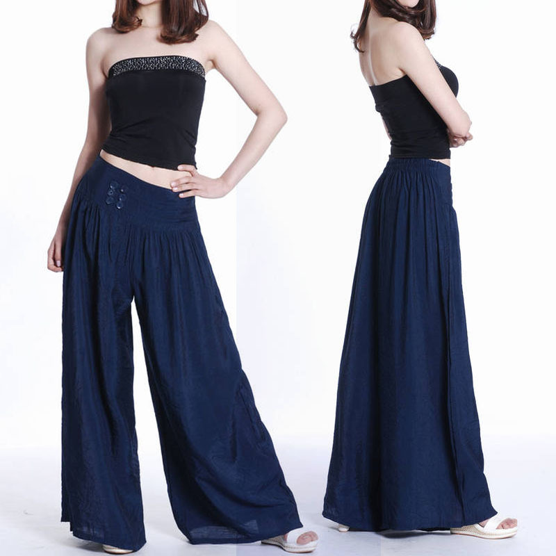2015 New Fashion Women Loose Long Pants Dress Wide Leg Pants