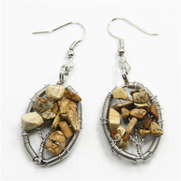 Tree Of Life Oval Shape Natural Picture Jasper Earring Gemstone Chip Silver Hook Earring