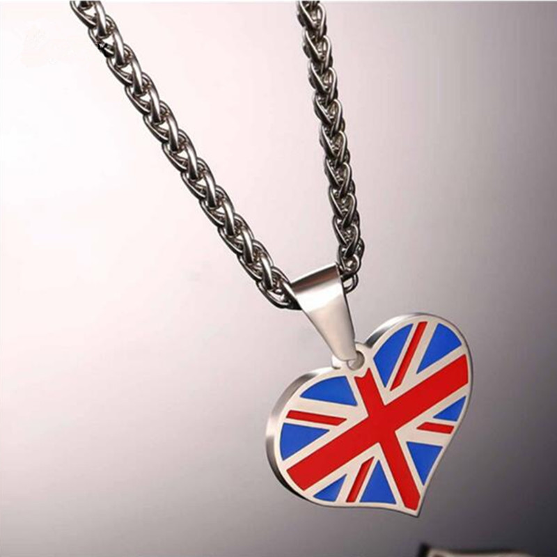 Yiwu Meise New Heart the Union Flag Necklace With Stainless Steel Chain Unique Union Jack Pendant Charms