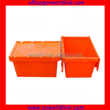 65L Turnover Attached Lid Plastic Logistics Folding Top Crate