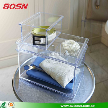 clear acrylic stackable tray perspex storage