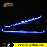 Wholesale car auto illuminated led moving door logl scuff plate sill for Cadillac led welcome scuff step light