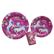Fancy Kids Party Supplies Disposable Birthday Round Shape Paper Plate