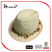 Fashionable promotional ladies paper straw fedora hats with flora decoration