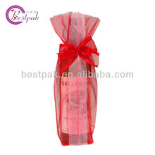 red organza mini wine bottle cooler tote wedding bag