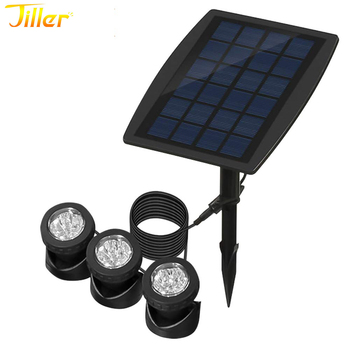Solar Submersible Pond Lights with 3 Lamps 18 LEDs Landscape Spotlight Underwater Lights IP68 Waterproof solar lamp L
