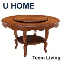 U HOME french style large dining room table/round extendable dining table/dark wood dining table H572