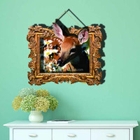 High quality New 3d wallpaper sticker fawn/deer for home decoration