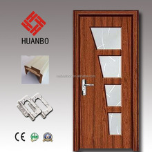 High quality mdf pvc coated wood glass insert door for bathroom,toilet