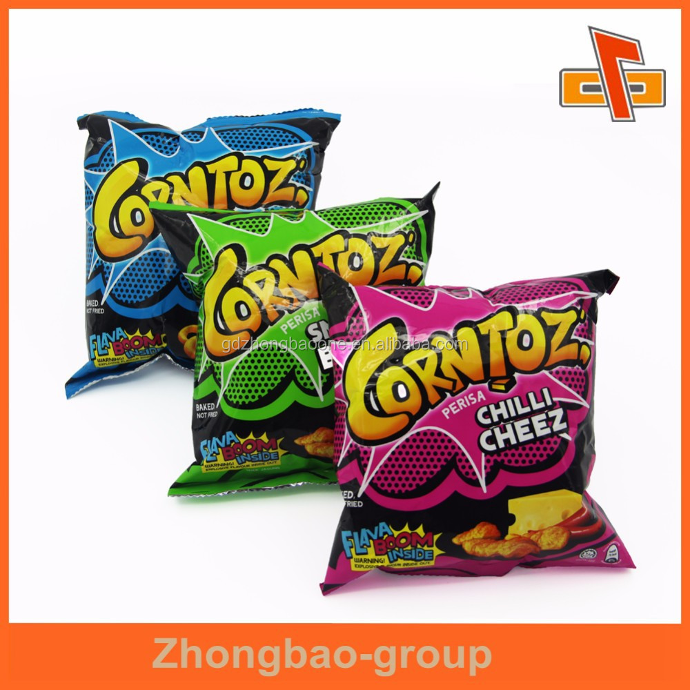 Printed plastic packaging bag for chips snacks with composite material