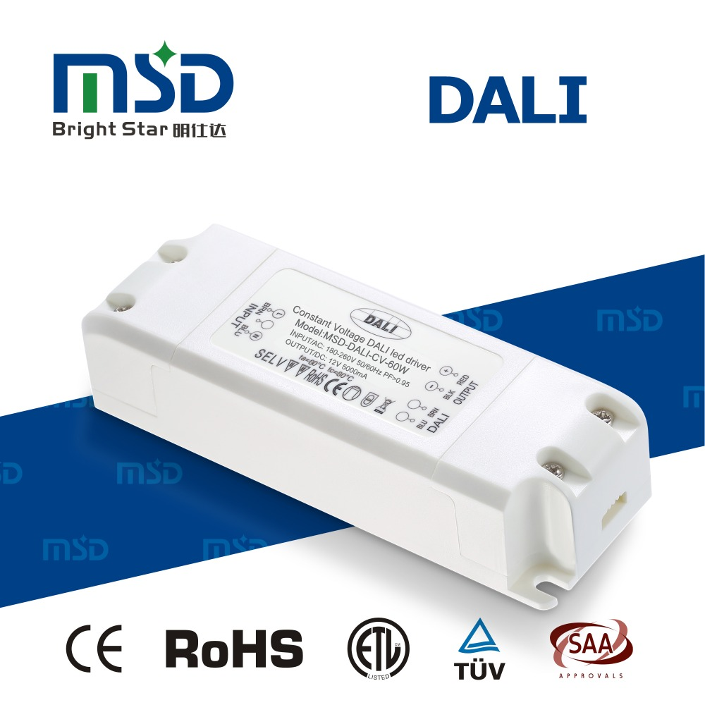 CE RoHS approval three years warranty 60w led rgb dali dimmable driver 12V